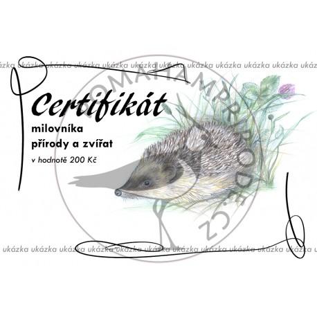 Certifikát ježek