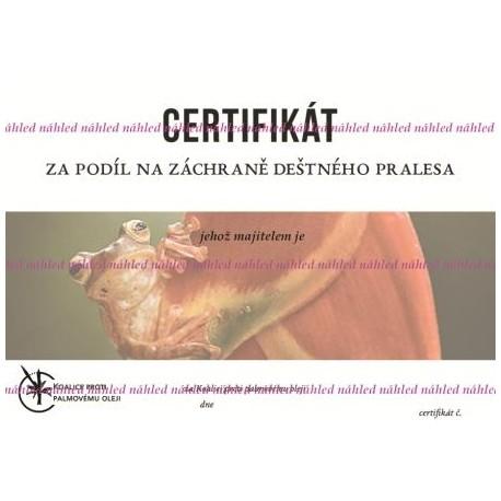 Certifikát žába